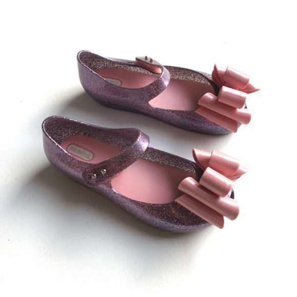 Mini Melissa Other - Mini Melissa Mary Jane Jelly Bow Kids Shoe Purple